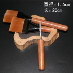 茶具  茶道配件 茶刀+养壶笔茶刷两用茶笔 实木双用扁头茶刀