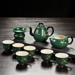 茶具礼盒套装 唐月窑迎春系列 绿色梅花 家用茶壶茶海茶杯茶漏