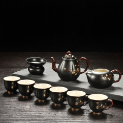 茶具礼盒套装 唐月窑迎春系列 黑色梅花 家用茶壶茶海茶杯茶漏