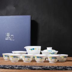 茶具礼盒套装 玉瓷荷叶 家用盖碗茶海茶杯茶漏