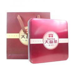 大益 红色 单饼礼盒 熟茶 铁盒