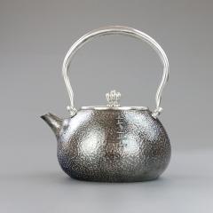 纯银999全手工银壶-纯银大补丁提梁壶