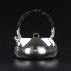 纯银999全手工银壶-光面扁壶