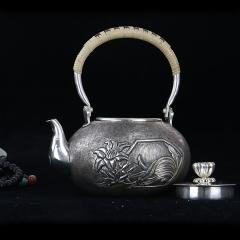 纯银999全手工银壶-纯银兰花提梁壶