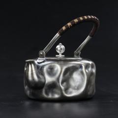 纯银999全手工银壶-石凹提梁纯银壶