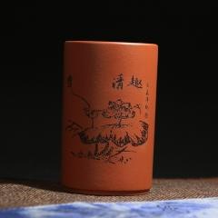 紫砂杯-清趣180cc 原矿红泥【民间艺人】宜兴紫砂杯