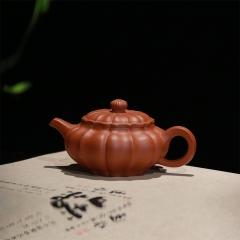 筋纹仿古200cc 黄龙山原矿朱泥【刘昌红作品】宜兴紫砂壶
