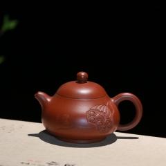 浮雕玉乳(铭文:清风荷韵)165cc 原矿大红袍【朱大伟作品】宜兴名家作品紫砂壶