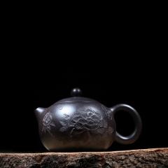 浮雕西施220cc  原矿黑朱泥【顾群华作品】宜兴正品紫砂壶