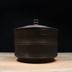 建水紫陶 竹节窑变茶罐A款260g【金建峰作品】