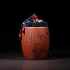 主人杯+小茶罐两用160cc  原矿朱泥【民间艺人作品】