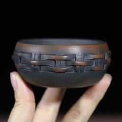 建水紫陶 竹编品杯90cc【菩提朱作品】实力匠人全手工正品