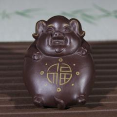 紫砂茶宠-描金猪  原矿紫泥【民间艺人作品】宜兴紫砂