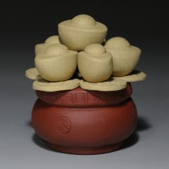 茶宠-聚宝盆 段泥+红泥【民间艺人作品】宜兴茶宠