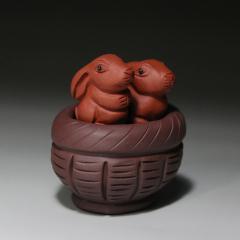 茶宠-一窝兔原矿紫泥+红泥【民间艺人作品】宜兴紫砂茶宠