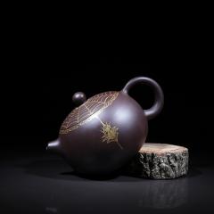 描金西施250cc  原矿优质黑朱泥【周国君作品】宜兴紫砂壶