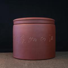 紫砂茶罐-中玉柱  原矿紫泥【经典陶坊作品】宜兴紫砂罐