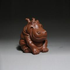 茶宠-河马(财大气粗)  原矿降坡泥【民间艺人作品】宜兴紫砂茶宠
