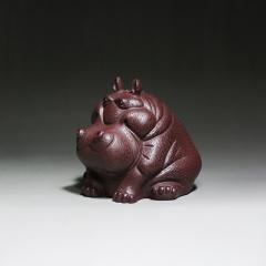 茶宠-河马(财大气粗)  原矿紫泥【朱文英作品】宜兴紫砂茶宠