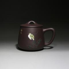 石瓢型盖杯-静观500cc  原矿老紫泥【彭己阐作品】宜兴紫砂杯