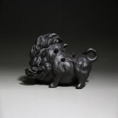 猪刚烈-野猪茶宠 原矿黑朱泥【实力艺人作品】  宜兴紫砂壶
