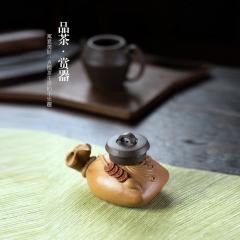 茶宠-福在眼前盖托摆件  原矿段泥【金鳞作品】宜兴茶宠摆件