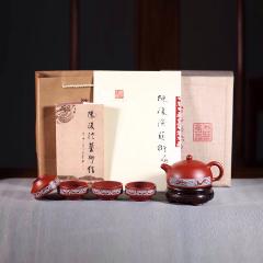 半月套组-五件套 原矿极品大红袍【陈复澄作品】全手工精品紫砂套装