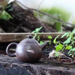 建水紫陶实力匠人【胡文佳】制古铜色荷花彩填龙蛋壶 全手工正品