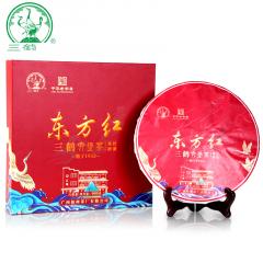 三鹤六堡茶 东方红六堡茶饼 梧州六堡茶 紧压茶饼礼盒装 999克/盒