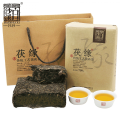 白沙溪 茯缘 安化黑茶 原叶金花手筑茯砖 750克/片